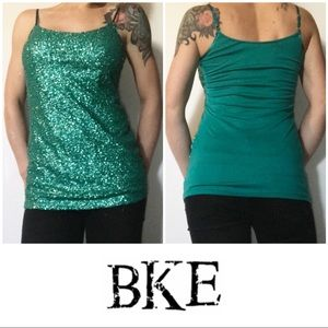 BKE Buckle Teal Sequin Camisole Tank Top Large L